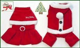 Pet Dog Embroidered Christmas Cape Dress & 4 Legged Hoodie Santa Suit  X... - $10.95+