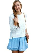Round Neck Asymmetrical Brocaded Jumper Sweatshirt Top White Black IN HA... - $16.99