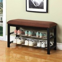 NEW Wooden Shoe Bench Entryway Organizer Storage Rack Cushion Brown Blac... - $69.28