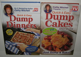 2 Cathy Mitchell Quick Easy Dump Cakes and More Dump Dinners Cookbooks L... - $9.89