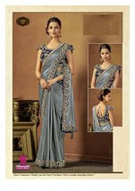 blue Ready to wear Gown Saree Fusion Saree Contrast Blouse Embroidery 7938  - $114.01