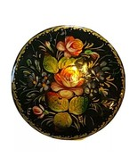 VTG Hand painted Wood Lacquer Black Gold Floral Roses Russian Brooch Pin... - $20.53