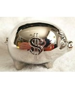 Pottery Barn Silvertone Pig Piggy Coin Bank Child's Baby's Small NEW OPE... - $18.00
