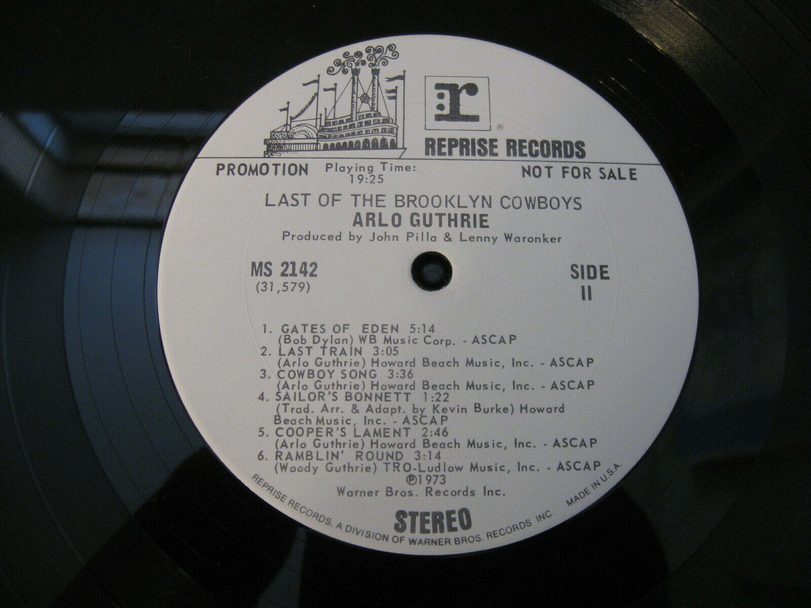 Arlo Guthrie Last Of The Brooklyn Cowboys Reprise MS 2142 Stereo Promo Copy