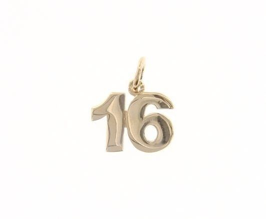 18K YELLOW GOLD NUMBER 16 SIXTEEN PENDANT CHARM, 0.7 INCHES 17 MM MADE IN ITALY