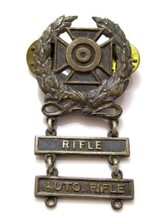 Vintage Rifle Automatic Shooting Medal Award Pin Brooch*1/20 Silver Fill... - $32.66