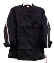 Dickies Black Tunic Chef Jacket Coat Checkered Trim CW070301 Size 36 New... - $26.43