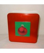 """Christmas Ornament Tin Box Storage Square Metal 6"""" Empty Gift Red Green  - $9.99"""