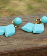 Vintage Crown Trifari Turquoise Lucite Double Diamond Clip Dangle Earrings - $44.00