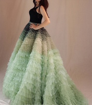 Women Tiered Maxi Tulle Skirt Wedding Bridal Train Skirt Outfit Evening Skirts image 3