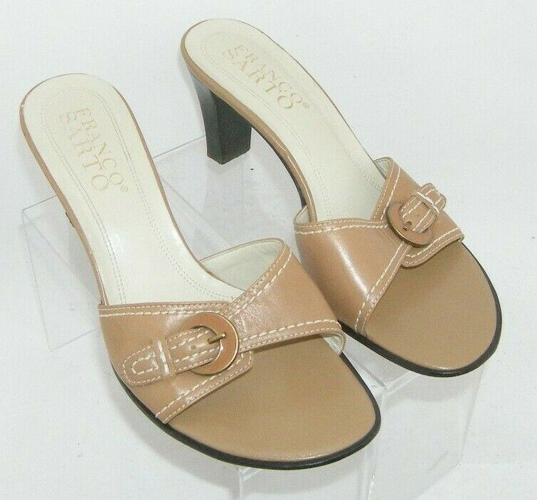 Franco Sarto brown leather buckle slip on slide mule sandal heels 7.5M 7627 image 11
