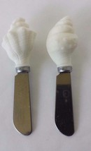 Set of 2 Textured Seashell Decorative Shaped Cheese Butter Spreader Knives - $13.36