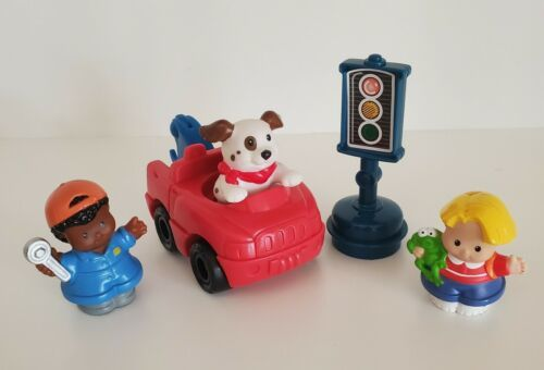Fisher-Price Little People Tow Truck Set Puppy Mechanic Frog Boy Stop Sign Lot 5 - $10.99
