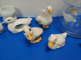 Vintage Country Goose Collection Blue Bow Figurines Napkin Rings. 11pc S... - $48.50