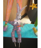 "ADORABLE 19 1/2"" OOAK - Primative RABBIT rag doll w/ carrot -  HANDMADE ... - $30.00"