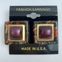 Vintage Purple Square Plastic Earrings Chunky Gold Tone Funky NOS 80s 90s - $12.58