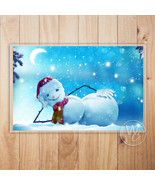 Christmas Placemat, Funny Snowman Laminated Place mat, Holiday Table Mat - $10.89