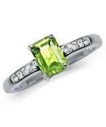Genuine peridot Birth Stone August Sterling Silver Ring - $35.00