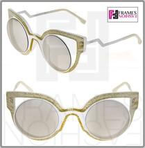 Fendi Paradeyes FF0137S White Glitter Silver Mirrored Sunglasses Optyl 0137 - $242.55