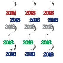 2018 Dizzy Danglers Hanging Decorations Assorted Colors 5 Ct New Years - $6.69 CAD