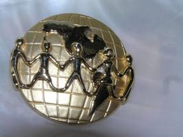 Vintage Hallmarked People Helping People Around The World Goldtone Globe Pin - $12.19