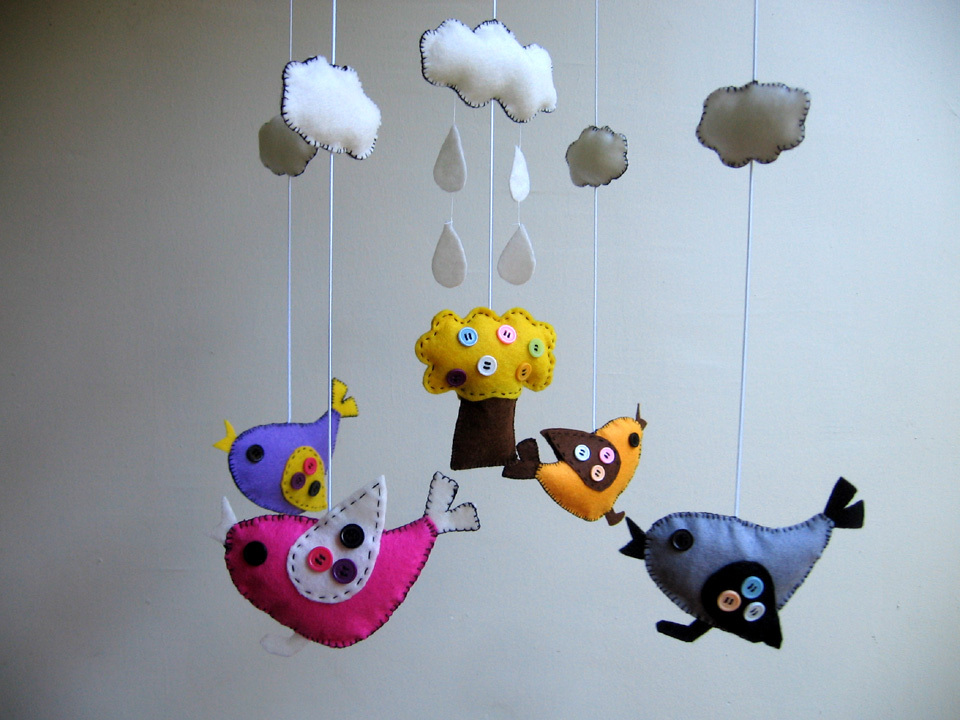 Baby mobile children mobile baby nursery decor bird for Bird mobiles for nursery
