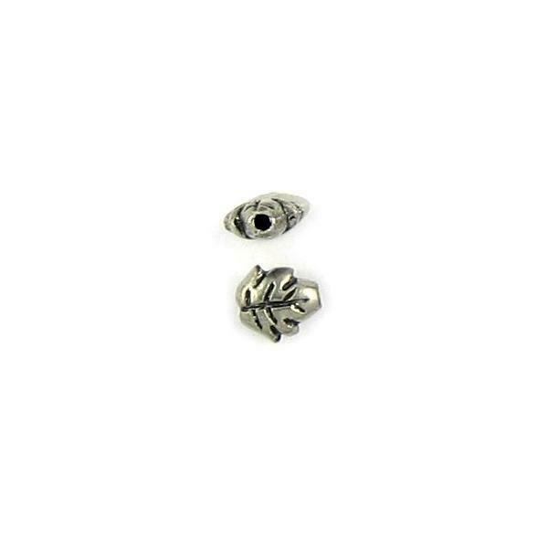 LEAF FINE PEWTER CAST BEAD - 7.5x7x3.5mm; 1mm HOLE