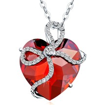 "Silver Necklace ""Forever Love"" Heart Pendant Made with Crystals Elem - $38.17"