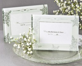 Shimmering Snowflake Glass Place Card Mini Photo Frame Bridal Wedding Favor - $71.20+