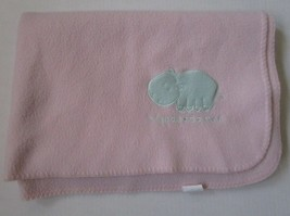 Pink Fleece Hippo Baby Blanket Hippopotamus Lovey Stitched Border 30x40 ... - $31.63