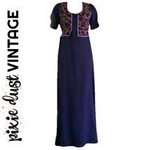 Vintage Dress Maxi Boho 60s Bohemian Hippy Purple Prairie Empire Waist S... - $32.44