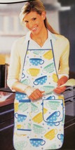 "Fabric Kitchen Apron w/ pocket, w/ towel, 23"" x 36"", COLORFUL COFFEE CUP... - $12.86"