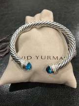 David Yurman Sterling Silver Diamond Blue Topaz 7mm Cable Classic Bracel... - $599.99