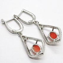 Silver Earrings 925, Hanging with Zircon, Red Coral Cabochon, Rhombuses image 4