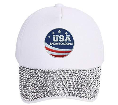USA Snowboarding Hat - Adjustable White Rhinestone Studded Cap Olympics
