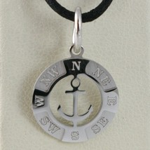 18K WHITE GOLD MINI 13 MM WIND ROSE COMPASS CHARM PENDANT, ANCHOR, MADE ... - $126.00