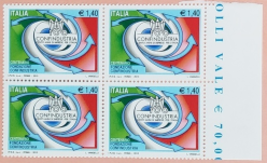 Italia Blk of 4 stamps Centennial Confindustria Euro 1.40 MNH - $3.95