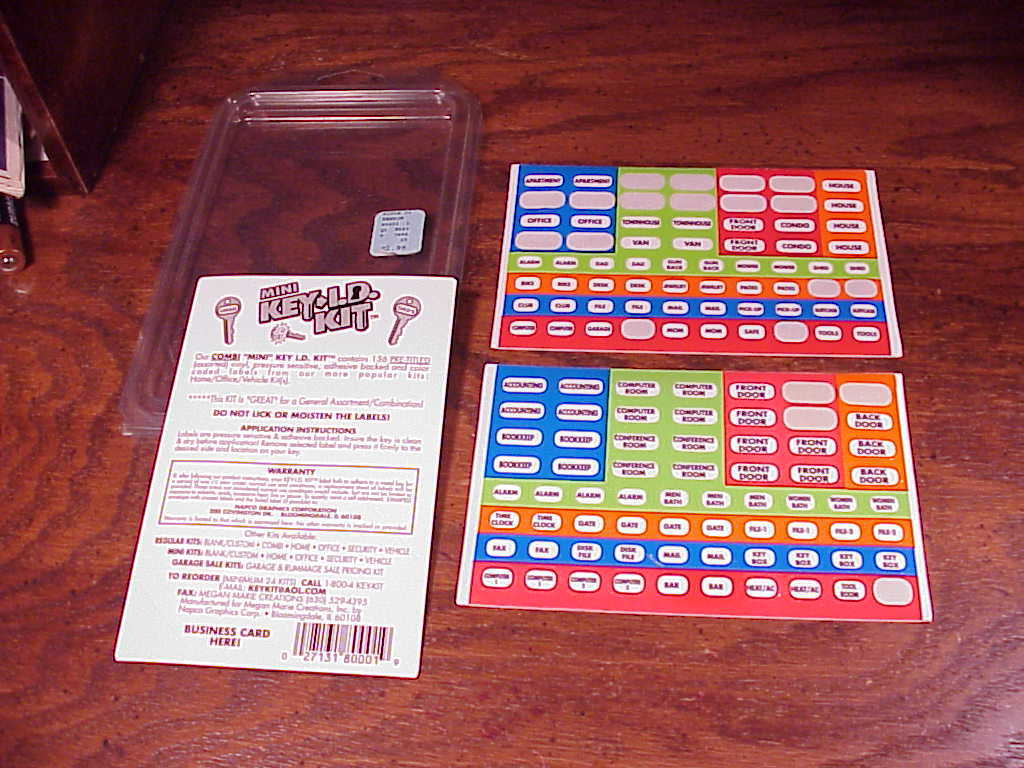 Mini Key I.D. Kit Pack, for Labeling Keys, some used