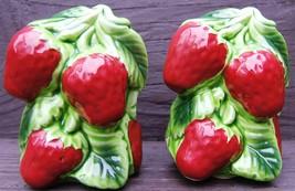 Vintage Holt Howard HH Strawberries Strawberry Ceramic Salt Pepper Shake... - $98.99