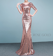 Half Sleeve Fit Gold Maxi Sequin Dress Wedding Party Maxi Gold Sequin Dress Gown image 4