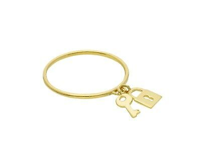 18K YELLOW GOLD RING WITH KEY PENDANT AND PADLOCK BRIGHT LUMINOUS, MADE IN ITALY
