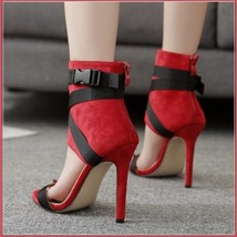 Red Spike Zip Back Open Toe Sandal Black Lace Up Strappy Classic Stiletto Heels image 2