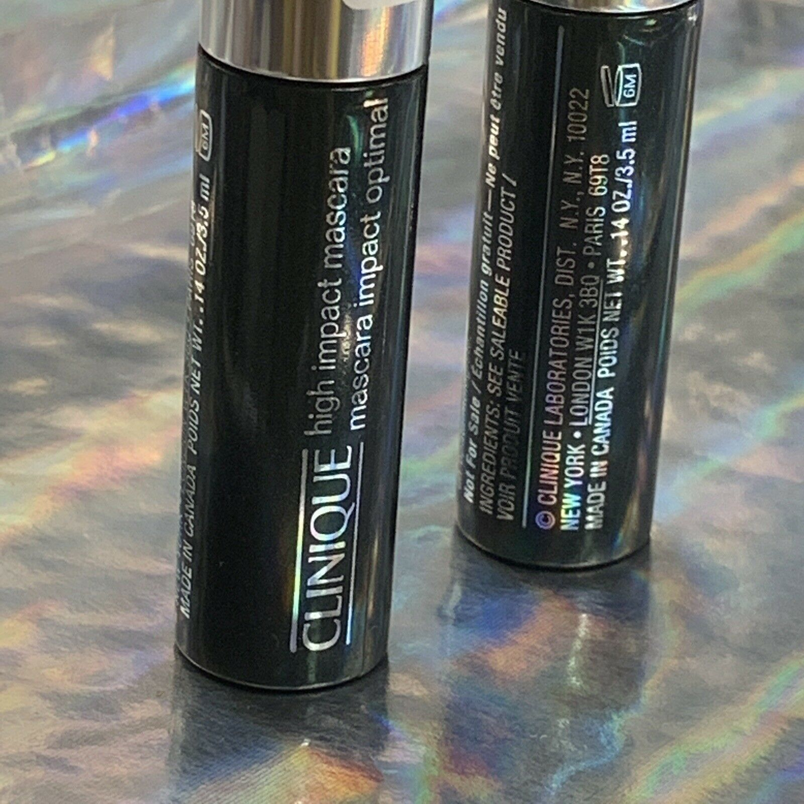 Clinique High Impact Mascara 01 Black 3.5mL *note size* Lot Of 2
