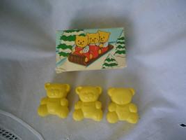 1988 AVON Tiny TEDDY BEAR  SOAPS Yellow Teddy Bears  - $6.50