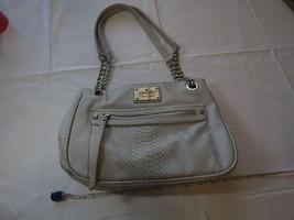 Nicole Miller shoulder hand bag purse chain satchel light grey silver EUC pocket - $47.51