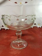 Vintage Indiana Glass Clear Teardrop Footed Compote Fruit Bowl image 2