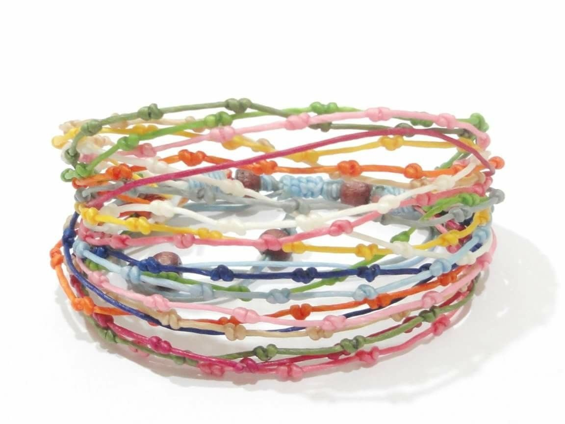 Handcrafted Pretty Rainbow Knot Wax Cotton FAIR TRADE Womens BRACELET Wristband
