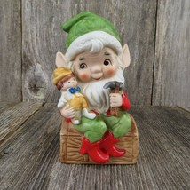 Vintage Toy Maker Elf  Figurine Santa Christmas Doll Ceramic Homco Bisqu... - $28.99
