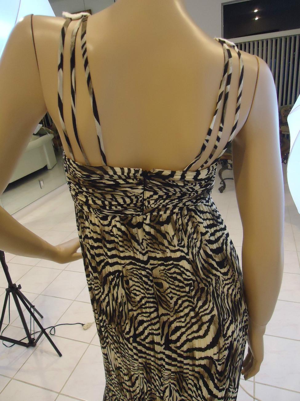 Boston Proper MUSE Pleated Animal Print Crochet Long Maxi Dress Size 4 NWT