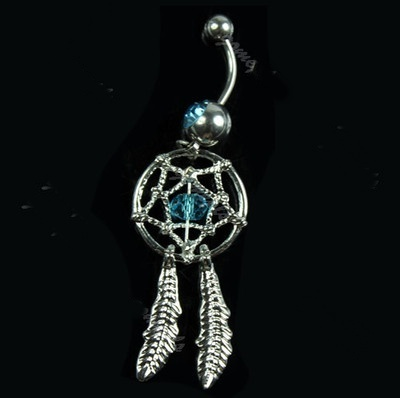 Dream Catcher Blue Crystal Belly Ring Body Jewelry Free Shipping